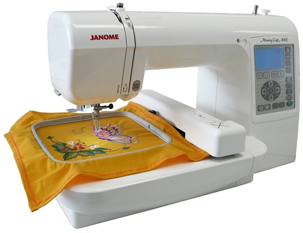 Janome MC200e with embroidered sample