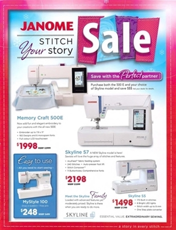 Janome sewing machine flyer