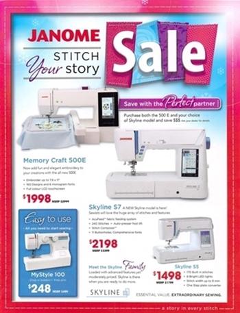 Janome sewing machine flyer