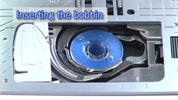 inserting the bobbin in the janome 9400