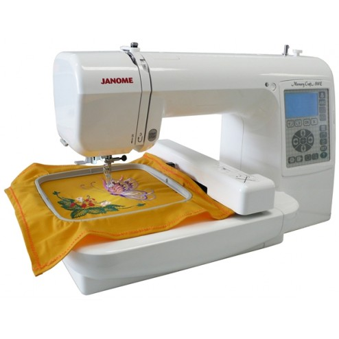 Janome MC200e with embroidered sample